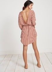 Summer Wholesale Design Striped Long Sleeve Casual Woman Dress
