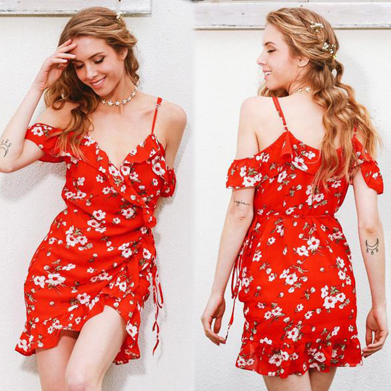 China Clothing Manufacturers Service Womens Slip Custom Red Short Chiffon Flower Dress Mini