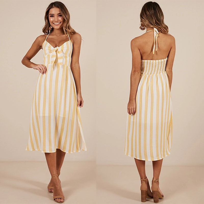 New arrival High Quality Mustard Stripe Beach Dress Summer Women Maxi Dress Ladies Sleeveless